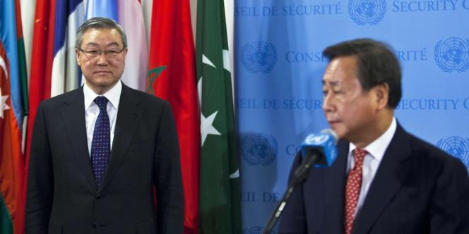 Le ministre des affaires étrangères et l'ambassadeur sud-coréen à l'ONU, mardi 12 février 2013, après l'annonce de l'essai nucléaire de la Corée du Nord.