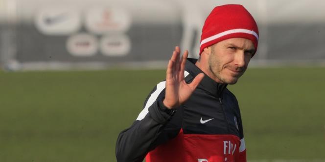 David Beckham à l'entraînement avec le PSG, mercredi 13 février.