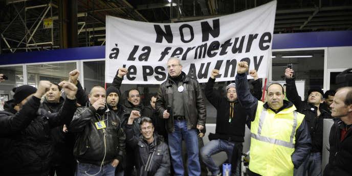 Assemblée générale à l'usine PSA Peugeot Citroen d'Aulnay-sous-Bois, le 28 janvier 2013.