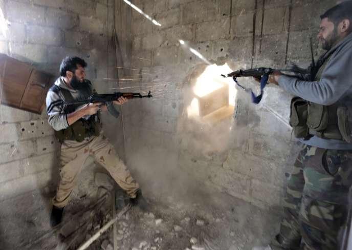 Combats dans la banlieue de Damas le 26 janvier.