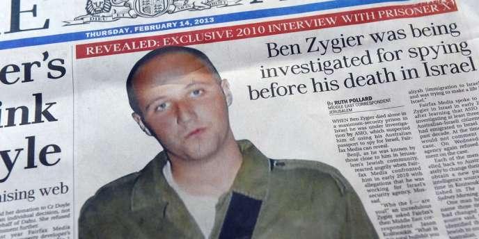 La première page d'un journal australien évoquant l'affaire Zygier, le 14 février 2013.
