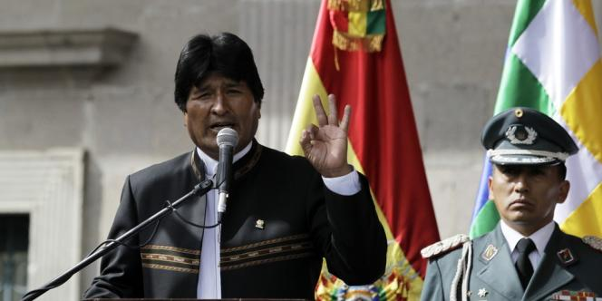 Le président bolivien Evo Morales (ici  lors d'un discours à La Paz en février 2014) a décidé d'exclure de son pays l'USAID, l'agence américaine pour le développement international.