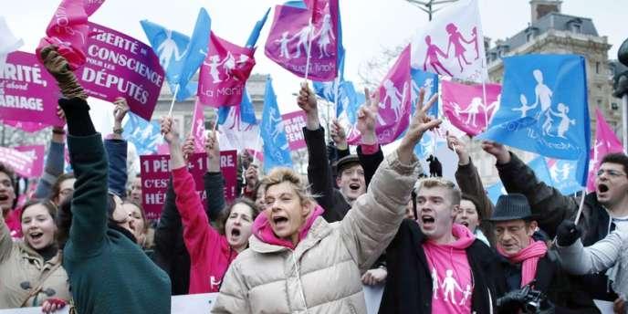 Manifestation des anti-mariage gay, le 10 février à Paris.
