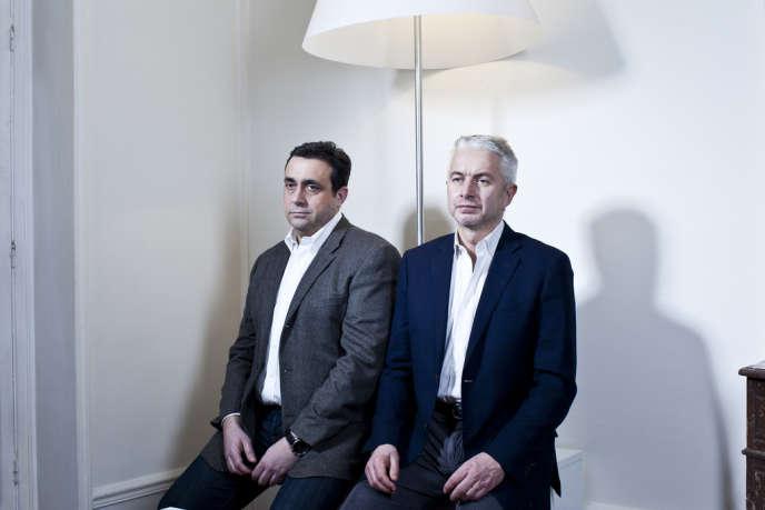 Pierre Giacometti et Alain Peron, dans les locaux de leur société de conseil, samedi 16 février.
