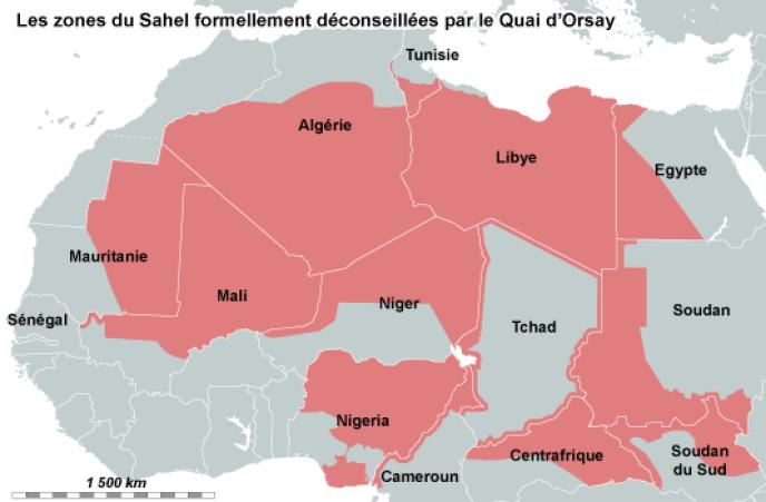 Les zones du Sahel formellement déconseillées par le Quai d'Orsay