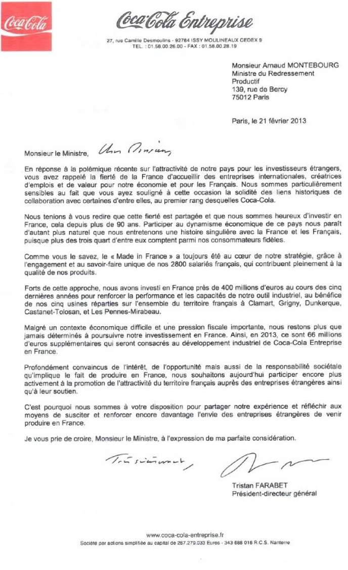 La lettre de soutien de Coca Cola à Arnaud Montebourg.