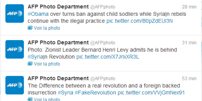 Exemples de messages publiés par un ou des pirates ayant pris le contrôle d'un compte Twitter de l'AFP.