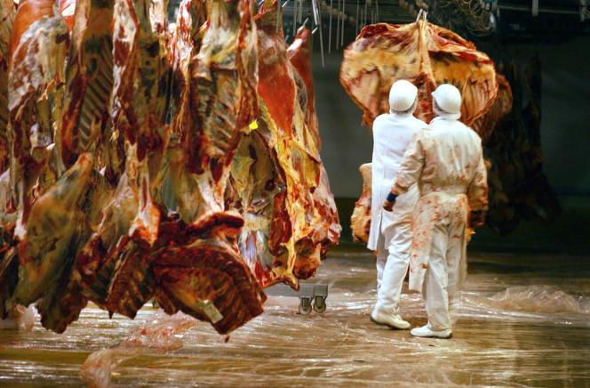 Un employé de la société de transformation de viande Soviba, le 31 octobre 2005 à l'usine de Lion-d'Angers.