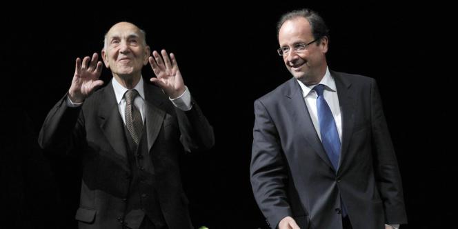 En compagnie de François Hollande, alors candidat à l'élection présidentielle, le 19 janvier.