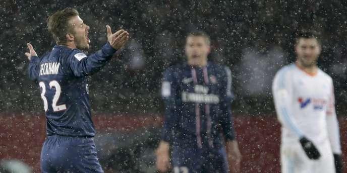David Beckham sous la neige parisienne, le 24 février au Parc des Princes.