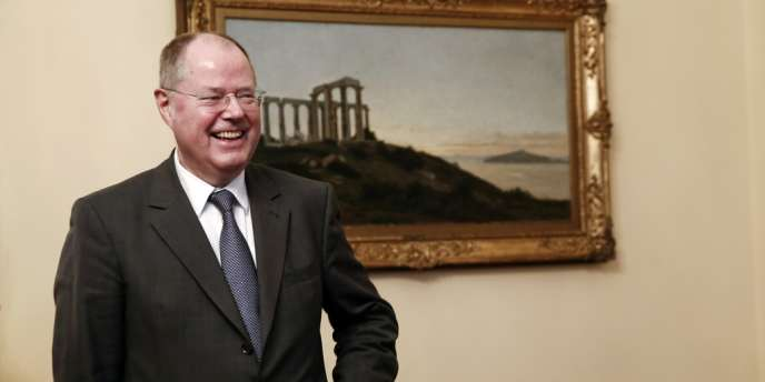 Peer Steinbrück, le candidat du SPD aux législatives allemandes de septembre 2013, en Grèce, début février.