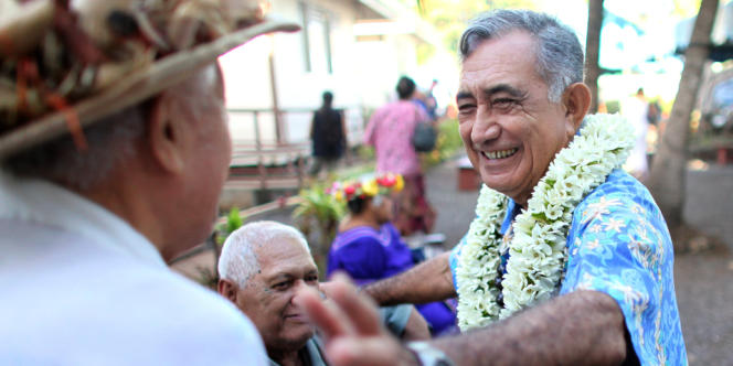 Le président de Polynésie française Oscar Temaru, à Faa'a en mai 2012.