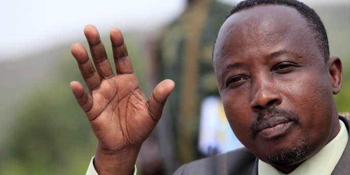 Le chef politique du M23, Jean-Marie Runiga, le 21 juillet 2012 à la frontière entre le Congo et l'Ouganda.