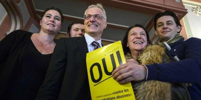 Le sénateur Thomas Minder, à l'origine du référendum, le 3 mars à Genève.