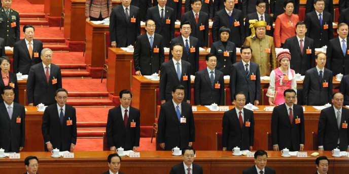 Les principaux dirigeants chinois lors de l'ouverture de la session de l'Assemblée nationale populaire, mardi 5 mars à Pékin.