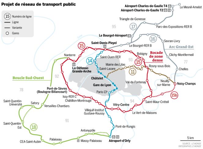 Projet de réseau de transport public du Grand Paris.
