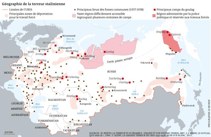 Carte situant les camps du goulag et les zones administrées par la police politique de Staline, ainsi que les emplacements des principales fosses communes connues de la Grande Terreur (1937-1938).