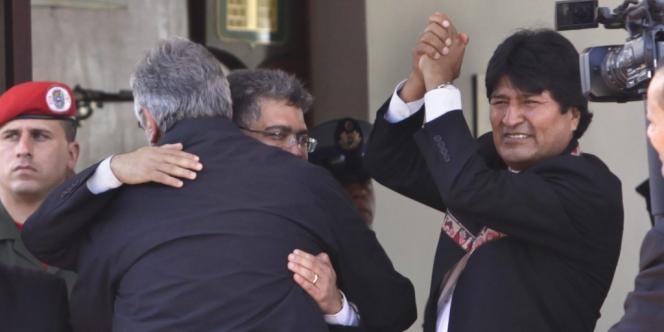 Evo Morales, président de Bolivie, pendant les funérailles d'Hugo Chavez le 8 mars à Caracas, au Venezuela.