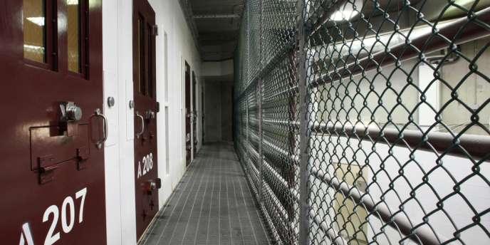 Vue d'une aile inoccupée de la prison de Guantanomo, le 5 mars 2013.