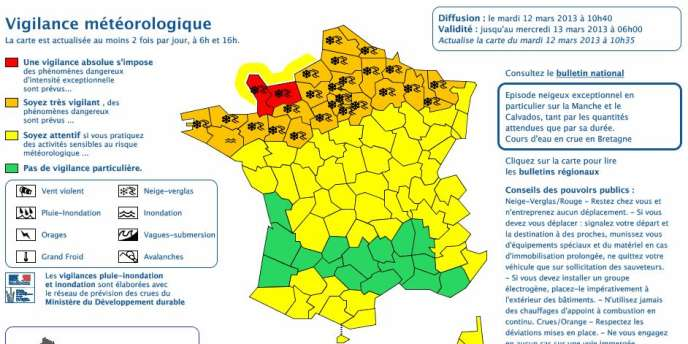 Captrue d'écran sur le site de Météo France mardi à 11 heures.