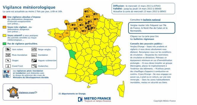Météo France a placé à nouveau mercredi matin 19 départements d'un tiers nord de la France en vigilance orange, en raison d'un
