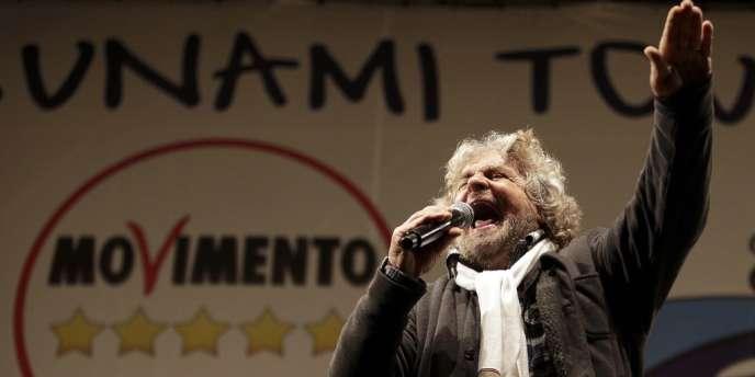 Beppe Grillo, le chef du Mouvement cinq étoiles, le 22 mars, à Rome.