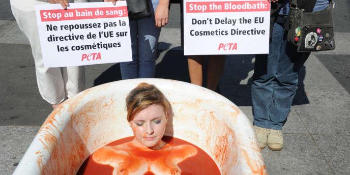 Une manifestation de l'association PETA (Peop