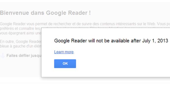 Capture d'écran du service Google Reader, le 14 mars.