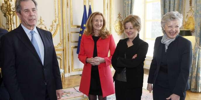 Nicole Belloubet, Nicole Maestracci et Claire Bazy-Malaurie aux côtés de Jean-Louis Debré, le président du Conseil constitutionnel, jeudi 14 mars.