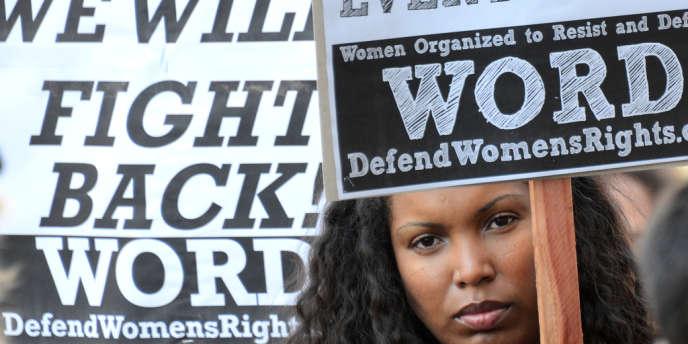 Lors d'une manifestation pour le droit des femmes, en Californie, le 9 mars.