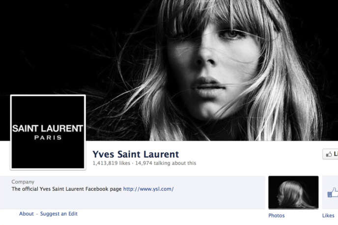 Page Facebook de Saint Laurent