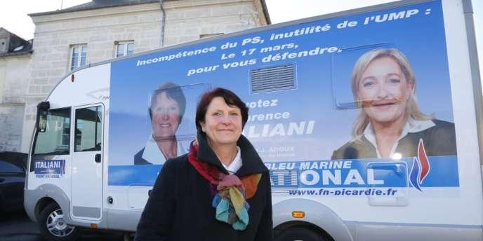 La candidate du Front national, Florence Italiani (ici le jeudi 14 mars), sera au second tour de l'élection législative partielle dans l'Oise dimanche 24 mars.