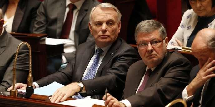 Jean-Marc Ayrault et Alain Vidalies, le ministre chargé des relations avec le Parlement, à l'Assemblée nationale, le 20 mars 2013.
