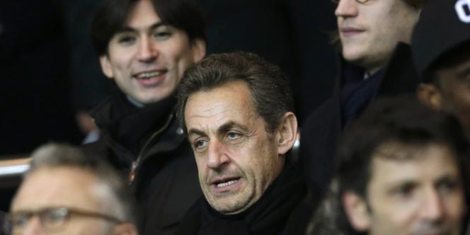 M. Sarkozy au parc des Princes le 24 février 2013.
