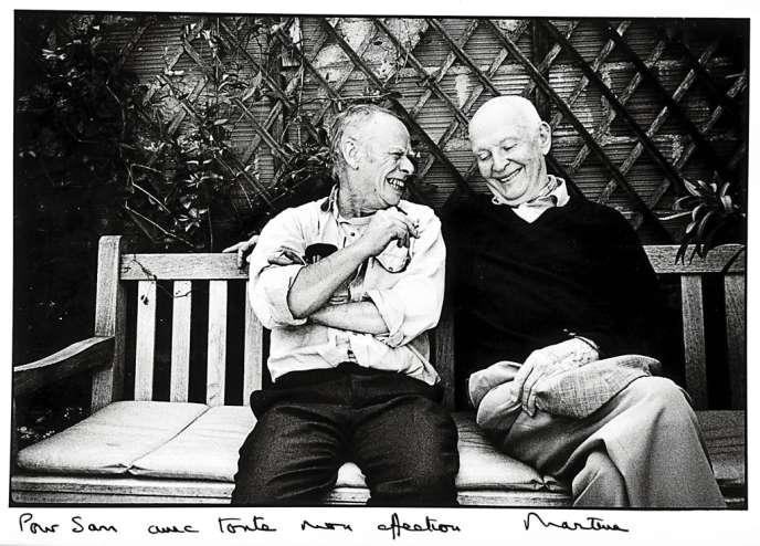 La peinture de Sam Szafran (ici, avec le photographe Henri Cartier-Bresson en 1983) est inclassable. Il affectionne le pastel, l'aquarelle et les décors à perspective.