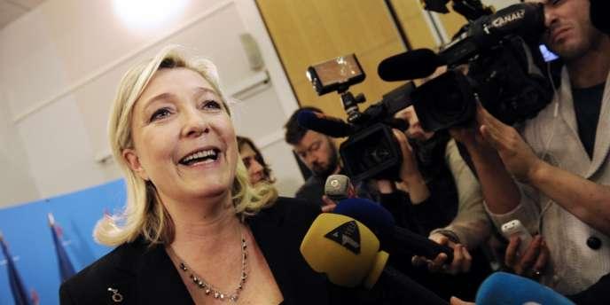 Marine Le Pen lors du conseil national du FN du 2 mars, à Paris.