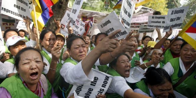 Manifestation de Tibétains à New Delhi contre le régime chinois le 14 mars.