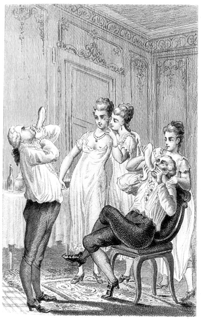Casanova et la redingote anglaise, ancêtre du préservatif mentionné en Grande-Bretagne, dans les milieux de la prostitution surtout, dès 1700. Gravure publiée dans les