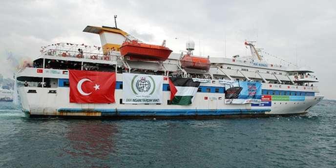 Le «Mavi-Marmara » le 28 mai 2010, trois jours avant l'assaut donné par un commando israélien pour empêcher le navire d'accoster sur la bande de Gaza.
