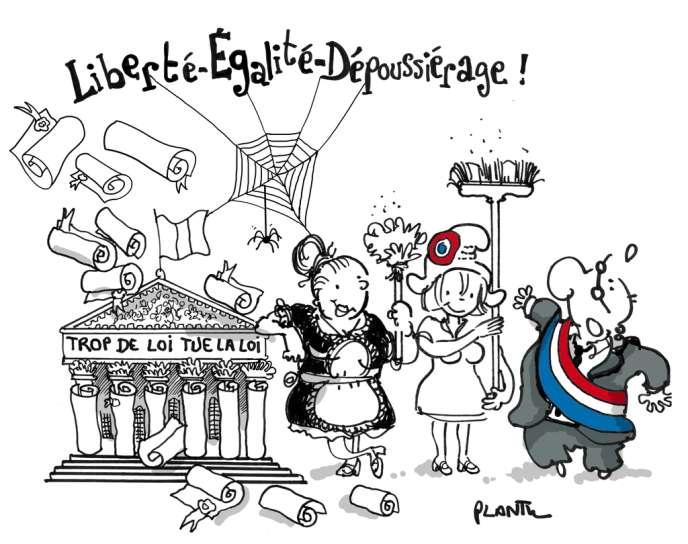 Dessin de Plantu, utilisé pour illustrer la couverture du rapport sur l'inflation normative, remis à Matignon mardi 26 mars.