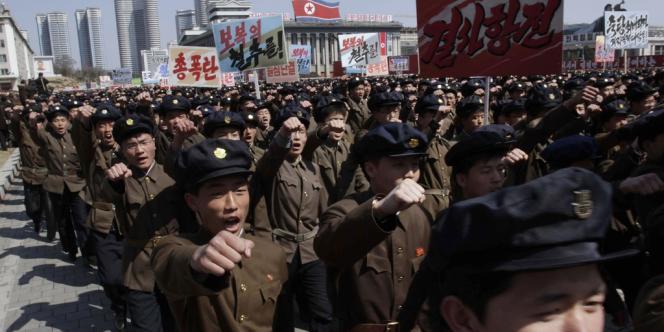 Rassemblement sur la place Kim Il-sung à Pyongyang, le 29 mars.