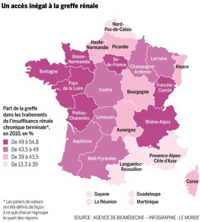 Un accès inégal à la greffe rénale en France