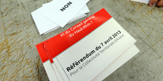 Bulletin de vote pour le référendum du 7 avril en Alsace.
