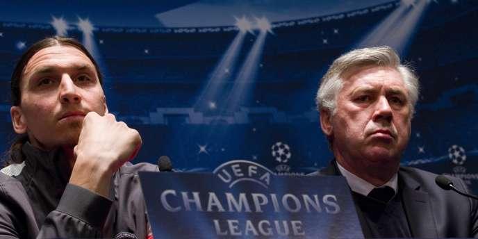 Zlatan Ibrahimovic et Carlo Ancelotti, lors de la conférence de presse précédant le quart de finale aller de Ligue des Champions entre le PSG et le FC Barcelone