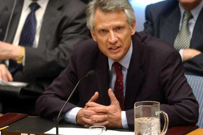 Le ministre des affaires étrangères Dominique de Villepin exprime au conseil de sécurité de L'ONU l'opposition de la France à une intervention américaine en Irak, le 14 février 2003.