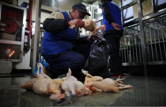 A Shanghaï, les autorités sanitaires ont ordonné, jeudi 4 avril, un abattage en masse de volailles et la désinfection des locaux du marché de Huhuai.