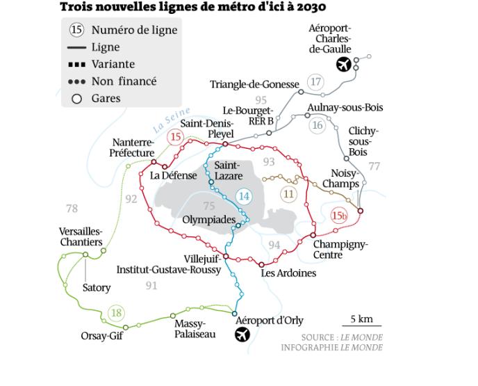 Trois nouvelles lignes de métro pour le Grand Paris.