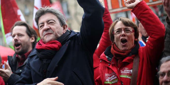 Martine Billard et Jean-Luc Mélenchon, coprésidents du Parti de gauche, le 5 mars 2013.