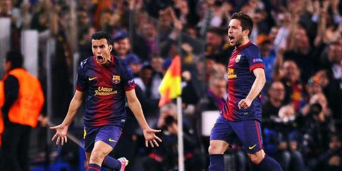 Pedro exulte. Son égalisation offre la qualification en demi-finale de la Ligue des champions au Barça face au PSG (1-1, 2-2).