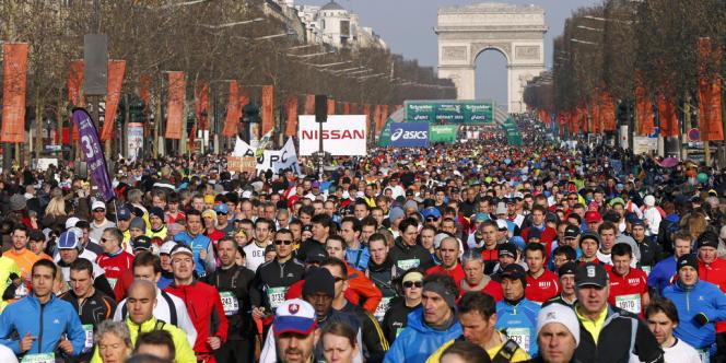 Le départ du marathon de Paris, le 7 avril 2013.